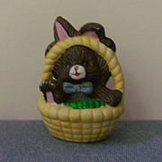 Miniature Porcelain Basket with Bunny Porcelain