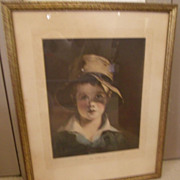 Thomas Sully's Art-Torn Hat Framed Boy Portrait Lithograph