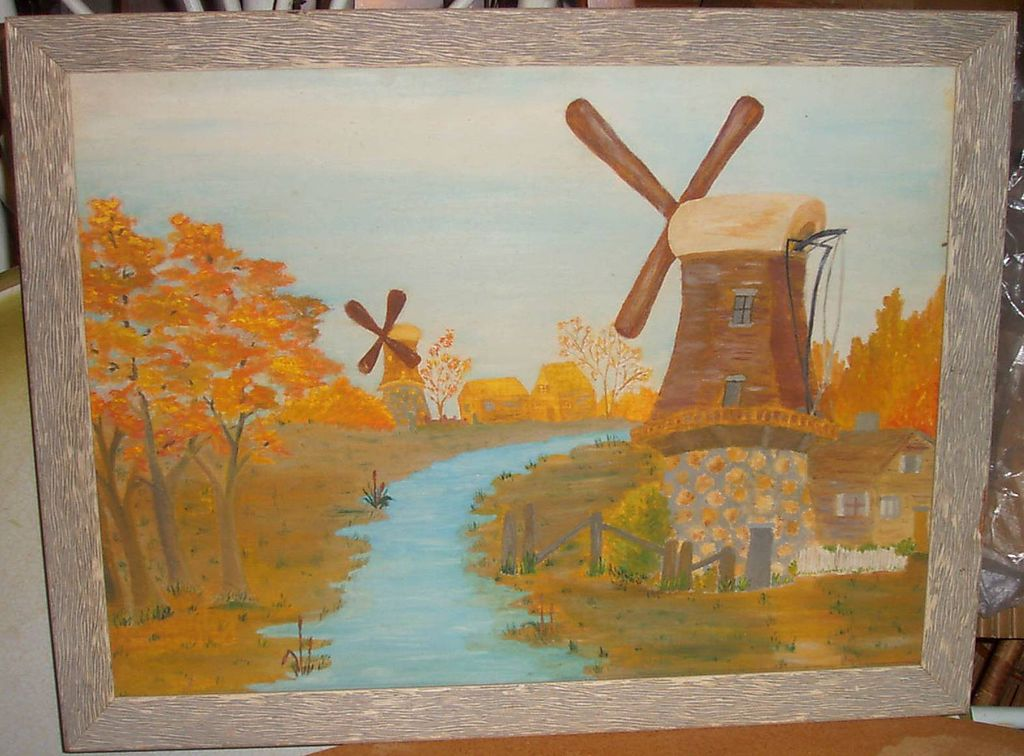 Oil Painting of Windmills