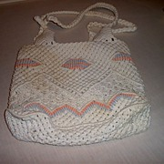 Macrame Pastel Cord Sack Pocketbook in Pastel Colors