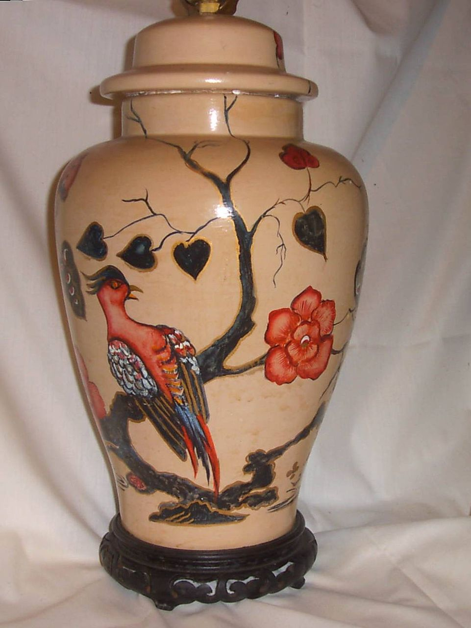 Lamp Base Handpainted Chinese Floral
