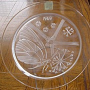 1969 Lalique Butterfly Crystal Plate signed