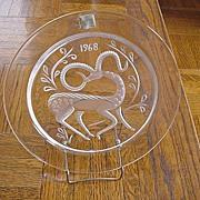 1968 Lalique Gazelle Fantasie Crystal Plate, Signed