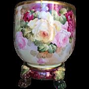Magnificent, Enormous Limoges Roses Jardiniere