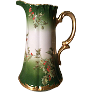 Limoges Holly and Berry Pitcher