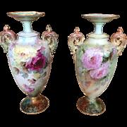 Magnificent Pair of Belleek Roses Vases