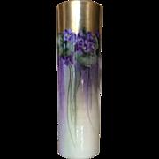 Willets Belleek Violets Cylinder Vase