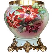 Spectacular Poinsettia  T&V Limoges Jardiniere and Plinth