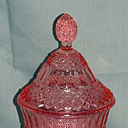 REDUCED Pink Miss America Covered Candy Jar