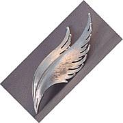 Trifari silver tone feather pin