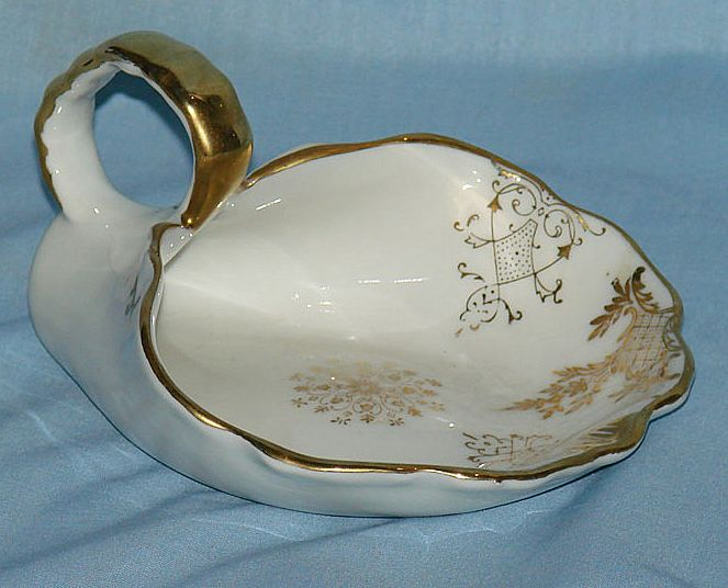 Gold embellished Bisque dust pan ash tray