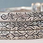 Whiting and Davis Silver Tone Triple Bangle Bracelet