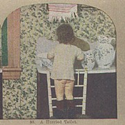 """Griffith and Griffith Color Stereo View Card """"A Hurried Toilet"""""""