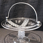 Early American Pattern Glass Handled Cake Basket Ripley #10