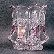 Pattern Glass Toothpick Holder Virginia with Rose Blush Decoration