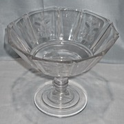 Sprig Pattern Glass High Standard Compote
