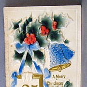 Merry Christmas High Relief and Air Brushed Post Card