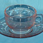 Pink Cloverleaf cup and saucer
