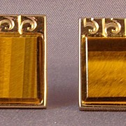 Men's yellow metal square cuff links with Tiger Eye stone.