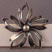 Sterling Silver flower pin Denmark marked N.E. FROM
