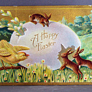 A Happy Easter  with chicks and brown rabbits