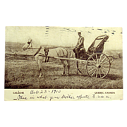 SOLD 1910 Canadian Souvenir Postcard Quebec, Canada Caleche