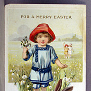 For a Merry Easter with children and a black and white rabbit