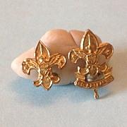 Vintage Boy Scout pins  Gold Tone