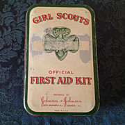 1950's Girl Scout first aid kit with supplies  Johnson & Johnson