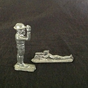 Two miniature lead soldiers