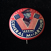 """General MacArthur Victory """"V"""" pin back button"""
