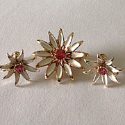 Vintage enamel flower pin and earring set with pink center rhinestones