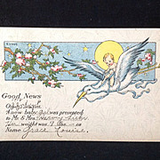 1918 Birth Announcement Postcard  E. Von H.