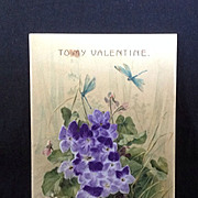 Valentine post card with flocked purple violets