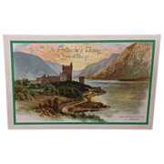 SOLD Unused St. Patrick's Day postcard featuring Glenveigh Castle Co. Donegal