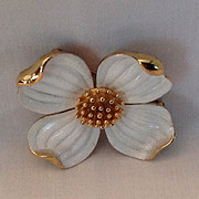 Trifari Dogwood pin with white enamel and gold tone accents