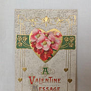 SALE Series 104 Valentine Postcard in Art Nouveau style A Valentine Message