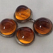 Conical amber glass double sided cuff links in white metal setting
