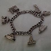 7 in. Silvertone metal  Charm bracelet with transportation theme