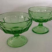 2 Federal Glass depression era Optic Panel 3 inch junior sherbet glasses