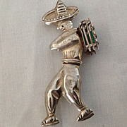 Sterling Mexican peasant man pin