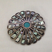 Stunning large sterling pin or pendant with abalone shell inlay