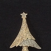 Gold and Silvertone Christmas Tree Pin in Contemporary Styling