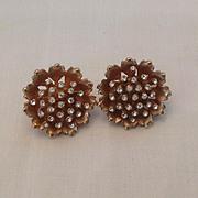 Lotus flower or Poppy earrings with rhinestone center