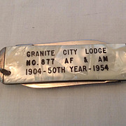 2 Blade Pocket Knife Granite City Lodge #877 AF & AM 50th year anniversary 1904-1954