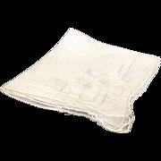 Pulled thread work embroidery linen handkerchief