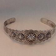 Vintage Indian silver tourist trade repousse bracelet.