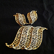 Kramer Demi Parure Silver and Gold Tone Scrollwork Brooch and Earrings