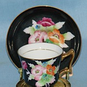 Striking Hand Painted Miniature Cup and Saucer FWW Japan
