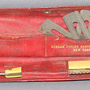 Durham Domino Duplex Razor in Smart Leather Snap Case